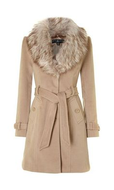 Little Mistress White Faux Fur Collar Coat