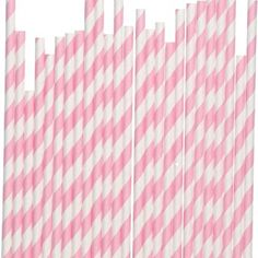 50 Baby Pink White Striped Paper Straws  Parties by catang on Etsy, $8.00