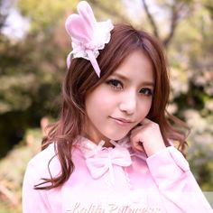 Pink Bunny Ear White Lace Lolita Clothing Accessories Headpieces SKU-71101016