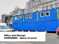 CONTAINEX offers portable cabins, sanitary cabins, storage containers, shipping containers as well as modular buildings for immediate use. Portable Cabins, Office Storage, Storage Containers, Street View, Space, Building, Floor Space, Storage Bins, Buildings