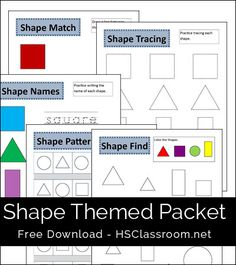 Shapes Themed Printables Packet - Shape Match – Shape Tracing – Shape Names – Shape Find – Shape Patterns Preschool Curriculum, Homeschool Math, Preschool Learning, Teaching Math, Preschool Activities, Homeschooling, Preschool Shapes, Shape Activities, Teaching Ideas