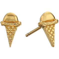 gorjana Ice Cream Cone Studs Earrings (Gold) Earring ($35) ❤ liked on Polyvore featuring jewelry, earrings, 18k yellow gold earrings, gold stud earrings, yellow gold stud earrings, gold post earrings and post earrings