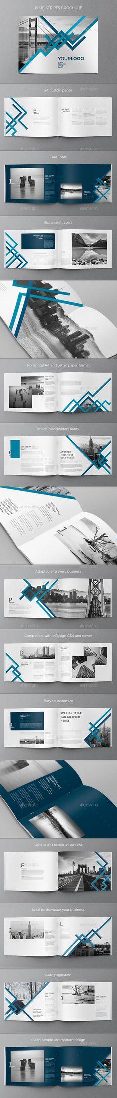 Blue Stripes Brochure Template InDesign INDD. Download here: http://graphicriver.net/item/blue-stripes-brochure/16367547?ref=ksioks