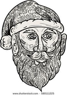 Mandala style illustration of Santa Claus head facing front set on isolated white background. Galaxy Art, Halloween Art, Graphic Design Art, Birds In Flight, The Little Mermaid, Watercolor Art, Mandala, Santa, Art Prints