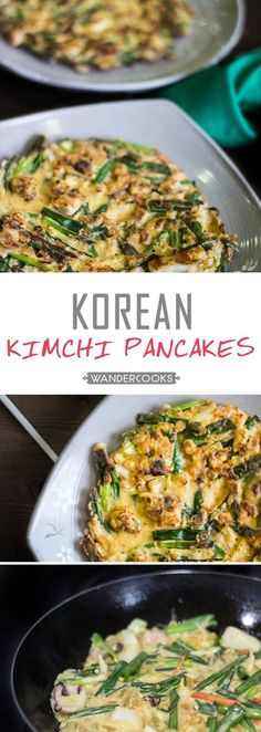 Crispy Korean Kimchi Seafood Pancake - These crispy Korean pancakes are commonly found on the streets of South Korea. A quick, crispy and crunchy snack just waiting to be flipped onto your plate at home.| wandercooks.com