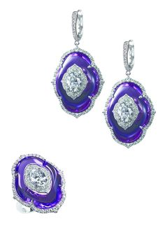 Bogh Art, Earrings and a ring with diamonds inlaid into amethyst