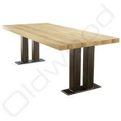 De verticale lijnen samen met de horizontale Iron Furniture, Furniture Design, Metal Bending Tools, Table Legs, Table Bases, Wood Steel, Conference Table, Metal Projects, Dining Bench