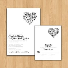 Music Theme wedding invitation- wonder if we could find something similar for a baby shower...