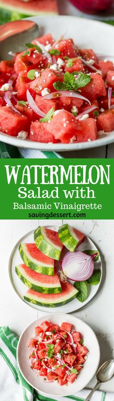 Watermelon Salad with Balsamic Vinaigrette ~ you won't believe how perfect sweet summer watermelon combines with fresh mint, crisp red onions and creamy Feta cheese. With just a drizzle of balsamic vinaigrette, you'll be amazed at the delicious flavor that comes from just a few simple ingredients. www.savingdessert.com