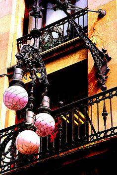 Street lamps in Barcelona - Catalonia, Spain Barcelona Architecture, Barcelona City, Barcelona Catalonia, Street Lights, City Lights, Gothic Quarter Barcelona, Chandeliers, Amazing Street Art, Lanterns