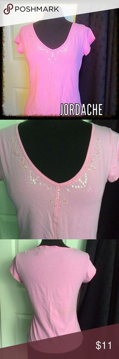 "Pretty pink top / sequins at neckline / JORDACHE PRETTY IN PINK - Embellished V Neck - 95% cotton - 5% spandex  - Junior size XL - Chest 35"" & Length 21"" - EUC! Jordache Tops"