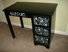 Great idea for re-doing an old desk or spicing up a boring one ... The Seam Rippers: Desk Re-Do