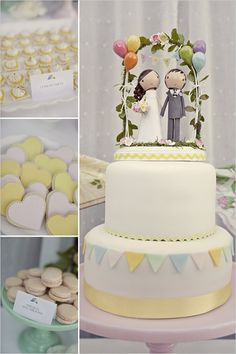 Cute cake topper... you could paint these wooden people yourself!  Love the yellow ric rac too!