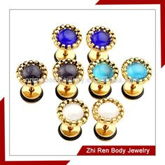 IP Gold Plated cats eyes Stone fake plug earrings