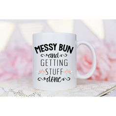 Messy Bun Mug Coffee Mug Messy Bun Funny Mug Getting Stuff Done Coffee... ($15) ❤ liked on Polyvore featuring home, kitchen & dining, drinkware, drink & barware, home & living, mugs, silver, white coffee mugs, wedding mugs and handmade ceramic mugs