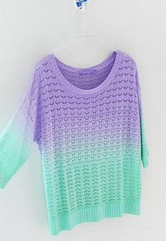 A 081904 Colorful gradient hollow pullover sweater