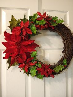 Christmas with Poinsettias by LilacLaneWreaths on Etsy