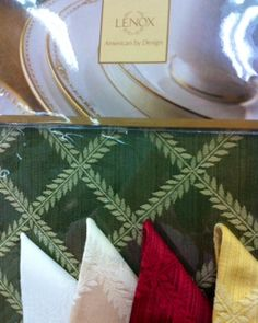 Laurel Leaf Tablecloth, Napkins & Place mats in 5 Colors. Sage, White, Ivory, Burgundy & Gold. Place Mat $6.99, Napkin $5.99 & Table Cloths Starting @ $34.99. To Order Call toll-free 877-722-1100