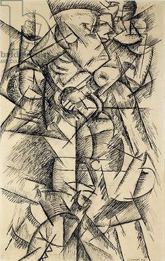 Boxer, 1913 (charcoal, pencil and ink on paper) |  Carra, Carlo (1881-1966)