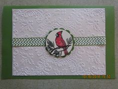 xmas 2014 Christmas Cardinal using Anna Griffin embossed Holly folder . Simple but Lovely
