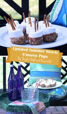 """Create a modern twist on traditional camping s'mores with this updated recipe  (chocolate- and graham cracker-dipped marshmallows with a pretzel """"stick"""")!"""