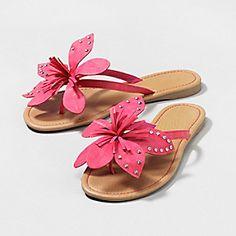 1d48c3d56 Pink flip flops with large pink flower trim