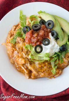 Low carb Chicken Enchilada Casserole with Cauliflower base