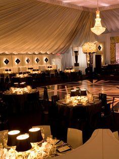 art deco black and white elegant wedding reception