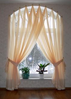 Half Circle Window Curtains Arched windows curtains on the hooks Arched windows treatmentes Curtains For Arched Windows, Drapes Curtains, Modern Curtains, Curtains On Hooks, Valances, Half Window Curtains, Window Blinds, Arch Windows, Bay Window Curtains Living Room