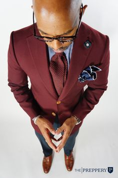 Custom Burgundy #Blazer designed by the Wardrobe Artisans at The Preppery