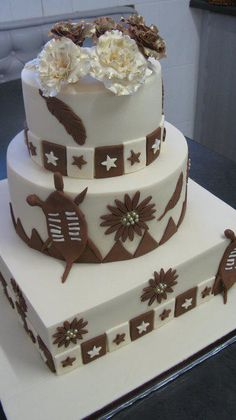 3 tiered cream and brown African inspired wedding cake…rich fruit cake covered in marzipan and fondant. Cake Cover, Marzipan, African Dress, Fondant, Wedding Cakes, Wedding Inspiration, Traditional, Inspired, Fruit