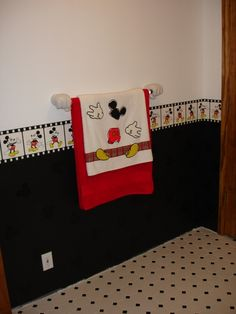 not crazy about the black tile. I think it would get dusty and dirty super fast in a kids' bathroom. Minnie Mouse House, Mickey House, Mickey Y Minnie, Mickey Mouse Bathroom, Mickey Mouse Kitchen, Baby Bathroom, Bathroom Red, Bathrooms, Disney Playroom