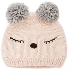 Forever21 Sleepy Face Pom Pom Beanie (640 INR) ❤ liked on Polyvore featuring accessories, hats, pom pom beanie, stitch hat, pom pom beanie hat, pompom hat and beanie caps