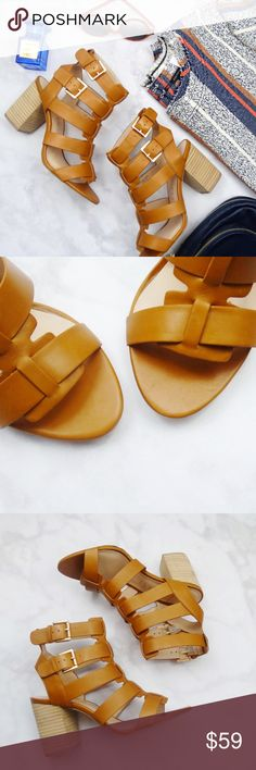 """Cognac Cage Sandals Details: * Size 7.5 * Cognac leather * Adjustable straps with buckle closure * 3.25"""" heel * New in box  03061713 Sole Society Shoes Sandals"""