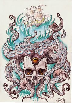octopus skull Octopus Tattoo Design, Octopus Tattoos, Octopus Art, Skull Tattoos, Life Tattoos, Body Art Tattoos, Sleeve Tattoos, Tattoo Designs, Tattoo Sketches