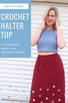 Crochet Summer Tops, Crochet Halter Tops, Crochet Crop Top, Crochet Vests, Crochet Shirt, Crochet Girls, Cute Crochet, Different Crochet Stitches, Crop Top Pattern
