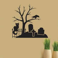 spooky graveyard scene halloween decals holiday wall decals