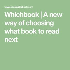 Whichbook   A new way of choosing what book to read next