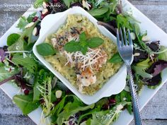Basil Asiago Baked Walleye with Basil Asiago Risotto & Pomegranate Almond Salad ~ Sumptuous Spoonfuls #fish #recipe
