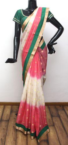 Banarasi Tissue Saree with Contrast Border.  Visit us at ZIA, Adyar.  Call us at 044 - 4360 5070.