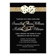 Black & Gold Glitter Effect Dice Las Vegas Wedding Cards