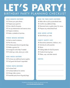 Birthday Party planning checklist and timeline.just in case anyone is planning a surprise party for me. A Birthday Party, Birthday Party Checklist, Happpy Birthday, Party Planning Checklist, Birthday Ideas, Planning 1st Birthday Party, Birthday Countdown, Birthday Week, The Plan