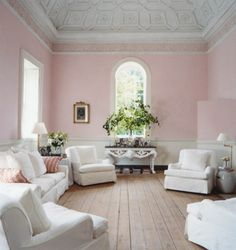 Charmant Pink And White Living Room, Green Plants Breaks Up The Color A Bit