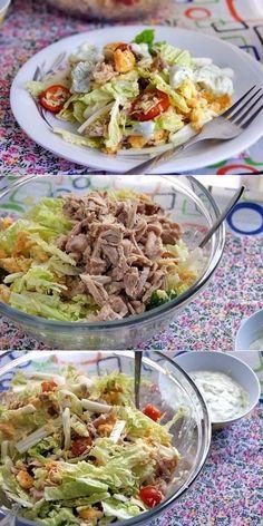 "Салат ""Цезарь"" по-русски. World's Best Food, Good Food, Yummy Food, Vegetarian Recipes, Cooking Recipes, Healthy Recipes, Food Displays, Salad Recipes, Food To Make"