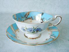 Paragon Tea Cup and Saucer Set - Vintage Tea Cups and Saucers - Turquoise Teacup and Saucer - Cups and Saucers. $46.00, via Etsy.