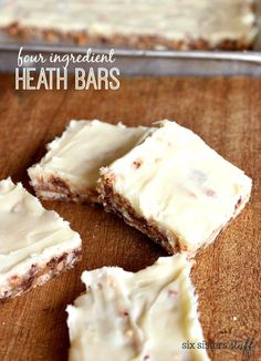 Four Ingredient Heath Bars – Six Sisters& Stuff Fudge Recipes, Cookie Recipes, Dessert Recipes, Bar Recipes, Yummy Recipes, Candy Recipes, Recipies, Just Desserts, Delicious Desserts