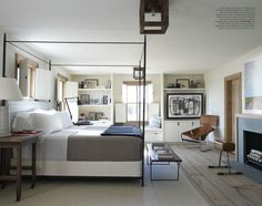 robert stillin at veranda magazine, I love the simplicity of the iron bed and the simple shelves