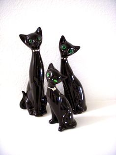 Vintage Mid Century Modern Black Cat Figurines by OmAgainVintage