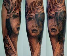 Black and grey - Portrait - Geisha - Rose - Japanese - Oriental - Sleeve - Tattoo by White Flame Studios, via Flickr
