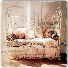 Hand soldered dollhouse miniature French bed By MaritzaMiniatures